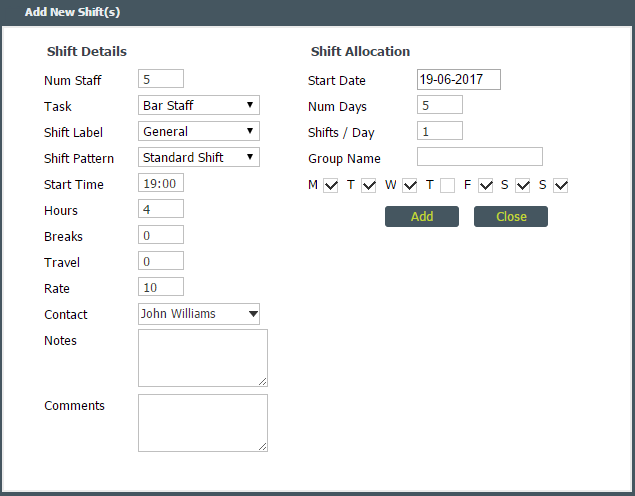 adding shifts to scheduled projects help desk